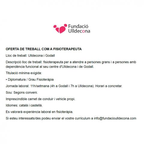 OFERTA DE TREBALL | OFERTA DE TREBALL COM A FISIOTERAPEUTA