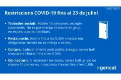 Restriccions COVID-19 fins al 23 de juliol de 2021.